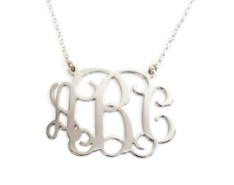 Monogram Necklace 2 inch Personalized - Sterling silver 925. monogram jewelry. Initial monogram necklace. Monogram initial necklace. Jewelry