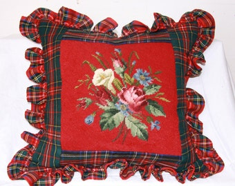 18 x18 Tartan and  floral needlepoint