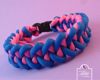 Blue Pink Paracord Bracelet, Shark Jaw Bone Paracord Bracelet, Blue Bracelet, UK