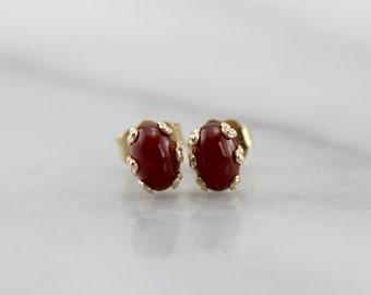 Small Carnelian Oval Stud Earrings  8AWZJ3-N