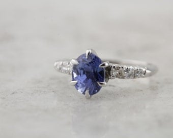 Retro Platinum Engagement Ring with Fine Ceylon Sapphire Gemstone  CYM3EK-R