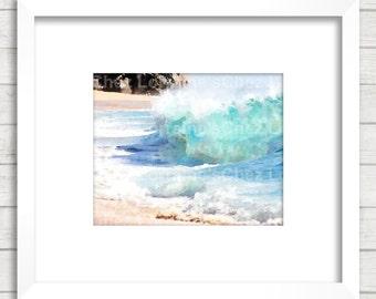 Ocean Waves Art, Watercolor Art Print, Beach Cottage Decor, Turquoise Blue Ocean Art, Sea Art Print, Bedroom Bathroom Living Room Wall Art
