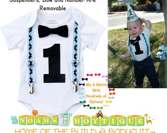 Mustache Birthday Party Outfit - Boys First Birthday Mustache Shirt - Mustache Bash - Baby Boy - Mustache Party - Blue - Black - Vintage