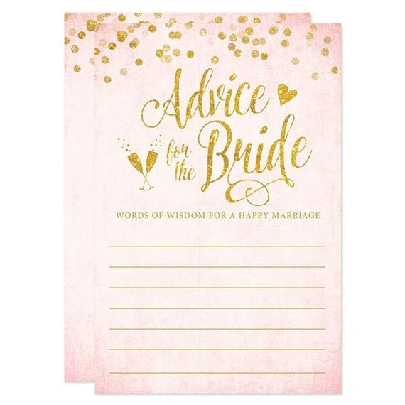 Advice for the bride cards blush pink gold confetti for Bridal shower advice cards template
