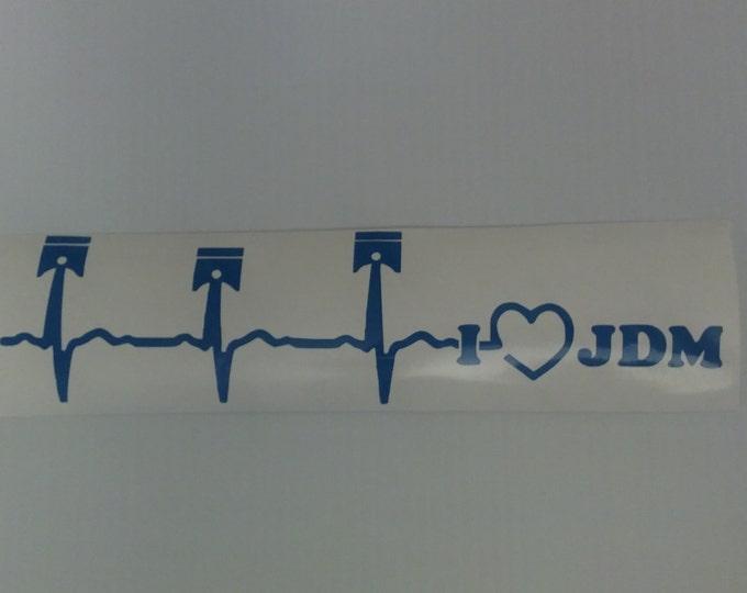 I Heart JDM Heartbeat EKG Vinyl Decal