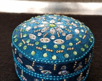 Teal Bejeweled Trinket, Flower Inlay With Rhinestones & Beads, Jewerly Holder, Ring Holder