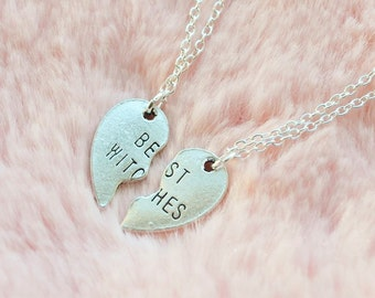Best Witches Best Friend Half Witch Halloween Love Heart Stamp Tag Pendant Silver Necklace Jewellery Jewelry