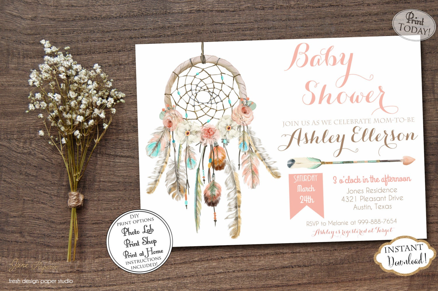 instant download dream catcher baby shower invitation boho