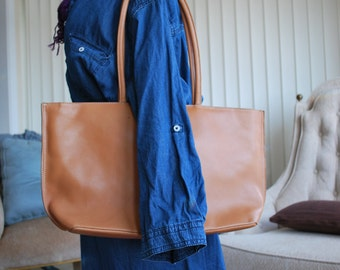 Tan Shopper / Box Tote Shoulder or Travel Bag