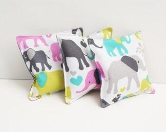 3 Cute Elephant Washable Bean Bags - Kids Beanbag Toss Game - Elephant Themed Birthday Party  - Girl Birthday Gift - Girl Bean Bag Toss Toy