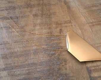 Geometric Gold Necklace, Geometric Pendant, Geometric Necklace, Gold Pendant