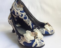Tardis Blue Doctor Who Inspired Steampunk Shoes Heels Royal Blue Party Pumps Black Bows Satin and Ivory Lace Cosplay Fantasy Wedding Bridal