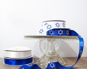 Star of David Ribbon - Hanukkah, Chanukah, Bar Mtizvah, Bat Mitzvah - Gift Wrap Supplies