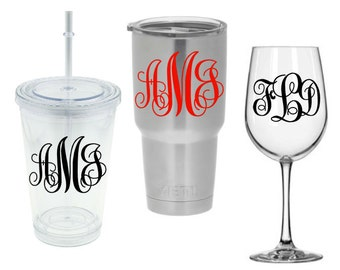 3 Initials Vine Monogram - Decal for DIY Projects -Tumblers, Wine Glass, Mugs, Vehicle Windows, and more. Glass NOT Included