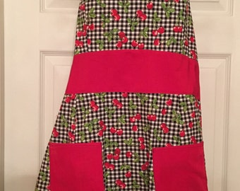 Vintage Inspired Structured Cherry Gingham Swing Apron Retro