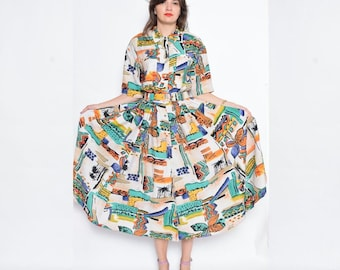 Vintage 90's Button Abstract Print Maxi Dress / Pleated Maxi Summer Dress / Belted Multicolor Dress