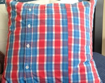 Blue Plaid Pillow Cover 18 x 18 inch Red Plaid Pillow Cover Blue Plaid Pillow Cover Kid Pillow Cover Oxford Shirt Pillow Boy Pillow