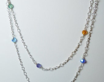 Multi-color Swarovski Crystal Beaded Long Silver Chain Necklace