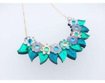 Pixie Floral Necklace: Iridescent Holographic Green. Opal Pearlescent Flower & Leaf Statement Bib Necklace. Laser Cut Mirror Acrylic Perspex