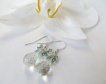 Green Quartz Earrings, Briolette Earrings, Sterling Silver Earrings, Green Amethyst Briolettes, Prasiolite Drop Earrings, Gemstone Earrings