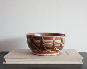 Antique Ceramic Bowl, Handpainted Plate Ornaments, Bulgarian Troyan Pottery, Antique Dish, Home Decor Housewares, Light Blue, Brown Beige