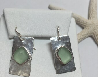 Sea Glass Earrings Sea Foam Green Genuine Hand Forged Hammered Sterling Silver Dangle