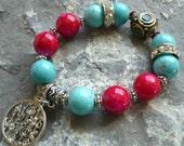 asian turquoise bracelet, tibetan bead bracelet, bohemian style bracelet, hot pink beads bracelet, rondelle rhinestone bracelet, boho jewel