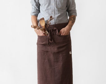 Brown Stone Washed Linen Garcon Apron