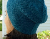 Blue Slouchy Beanie - Blue Alpaca Wool Beret - Alpaca Beret - Knit Hat for Women - Alpaca Wool Beanie Hat - Winter Hat for Her - Slouchy Hat
