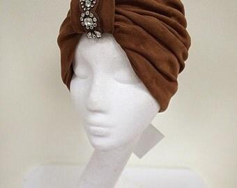Suede turban, urban turban, brown hat, Head turban, Hair Snood, chemo turban, Bohemian turban