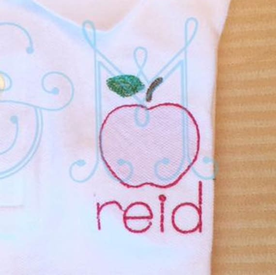 Shadow Work Embroidery Design Apple Back To School Fruit