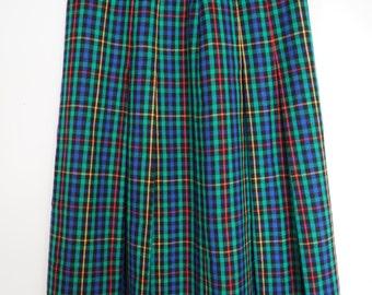 Long pleated wool skirt plaid multicolour S/M