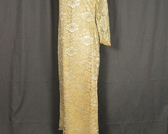 1980s Vintage Gold and Lace Sheath Cocktail Dress