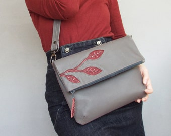 Gray leather crossbody bag. Leather foldover applique purse.