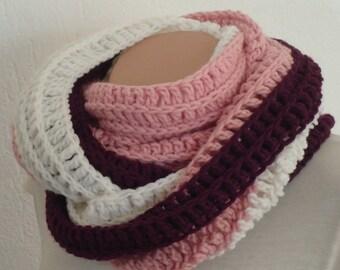 Chunky  crochet pink purple white infinity scarf ,crochet chunky snood , one of a kind extra warm winter scarf ,crochet infinity scarf snood