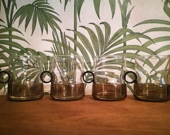 Mid century modern cups, Mid century coffee cups, Tea cups, Glass coffee mugs, Tea mugs with plastic holders, German Melitta cups like pyrex