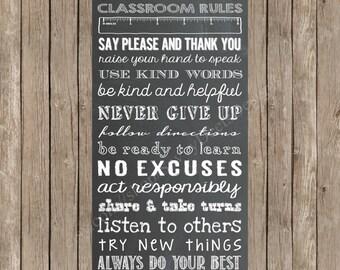 Custom Chalkboard Classroom Rules Printable Sign - Classroom Rules Sign - Classroom Expectations - Schoolroom Rules - DIY Printable