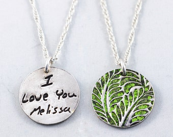 Memorial Jewelry Signature Necklace Your Loved One's Actual Writing or Signature on a Circle Silver Pendant - Handwriting Jewelry