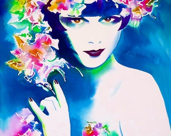 Louise Brooks Hollywood Art Print Original Painting Flapper Pink Flowers Headdress Fashion Roaring 20s salon Art