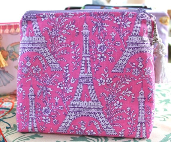 Pink Lavender Eiffel Tower Cosmetic Bag