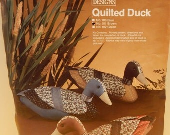 """QUILTED DUCK Kit CAP Quilt Designs 1982 Vintage Open 3 Kits Brown 16"""" x 7.5"""" All Fabric and Directions Included Sold Individually"""