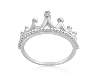 2mm (0.03 ct. tw) Diamond Princess Tiara Royal Stackable Ring #925 Sterling Silver #Azaggi R0565S