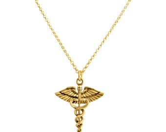 Caduceus Symbol of Medicine Charm Pendant Necklace For Doctors & Nurses #14K Gold Plated over 925 Sterling Silver #Azaggi N0631G