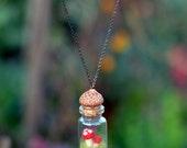 Mushroom Terrarium Necklace - Felted Toadstool - Miniature Glass Bottle - Botanical Jewelry - Nature Lovers Gift - Woodland Jewelry