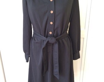 Free ship Kenny Classic polyester shirt dress black with brown buttons 1970s womens vintage