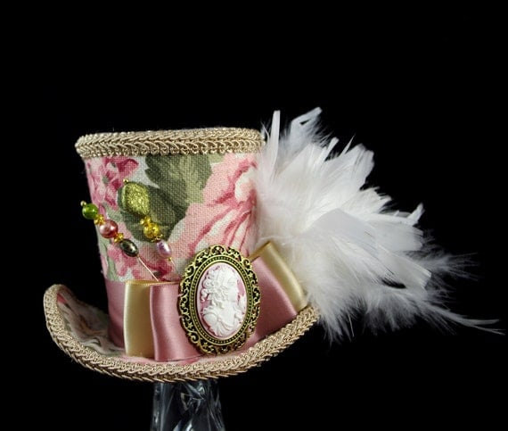 Pink, Green, and Toffee Floral Cameo Empress Collection Large Mini Top Hat Fascinator, Alice in Wonderland, Mad Hatter Tea Party, Derby Hat