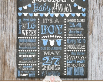 Chalkboard Sign, Baby Boy Sign, Blue/White Polka Dots, DIY Printable, Photo Prop (Item SB006)