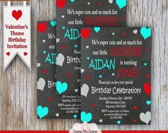 First Birthday Hearts Invitation, Valentine's First Birthday, Boy's Valentine Birthday Invitation, Red, Aqua, and Gray Hearts