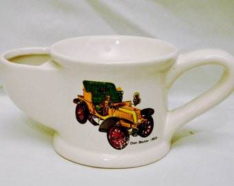 Scuttle Shaving MUG Hand Painted and Decorated with 1903 Cadillac Automobile-Rare Vintage Design- Made in Korea