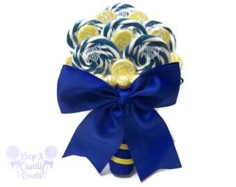 Royal Blue and Yellow Lollipop Bouquet, Blue and Yellow Candy Bouquet, Lollipop Bouquet, Royal Blue Wedding, Bridal Bouquet, Wedding Bouquet